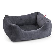Zoon Velour Charcoal Grey Square Dog Bed - Small