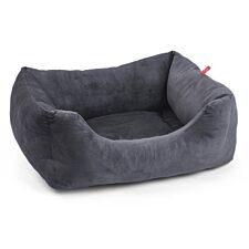 Zoon Velour Charcoal Grey Square Dog Bed - Large