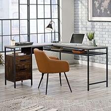 Teknik Home Office Market L-Shaped Desk - Rich Walnut Finish