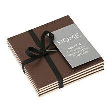 Reversible Brown and Cream Faux Leather Coasters - Set of 4