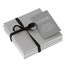 Reversible Grey and Stone Faux Leather Coasters - Set of 4