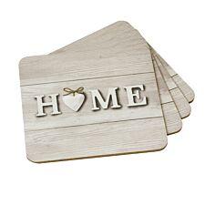 Home Design Cork Back Coasters - Set of 4