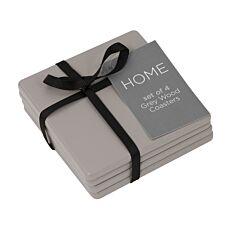 Grey Wooden Coasters - Set of 4