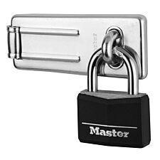 Master Lock Hasp & 40mm Aluminium/Black Vinyl Padlock