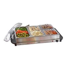 Cooks Professional 4-Section Buffet Warmer - Black/Silver