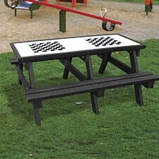 NBB Double Chess Activity Top Recycled Plastic Table with Benches - Black