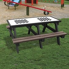 NBB Double Chess Activity Top Recycled Plastic Table with Benches - Brown