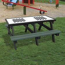 NBB Double Chess Activity Top Recycled Plastic Table with Benches - Green