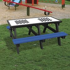 NBB Double Chess Activity Top Recycled Plastic Table with Benches - Blue