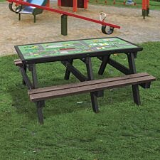NBB Green Cross Code  Activity Top Recycled Plastic Table with Benches - Brown