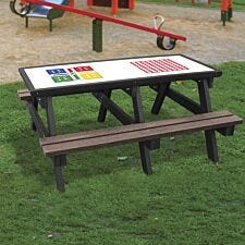 NBB Ludo/4-In-A-Row Activity Top Recycled Plastic Table with Benches - Brown
