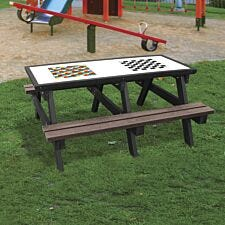 NBB Snakes & Ladders/Draughts Activity Top Recycled Plastic Table with Benches - Brown