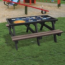 NBB Solar System Activity Top Recycled Plastic Table with Benches - Brown