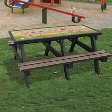 NBB ABC Activity Top Recycled Plastic Table with Benches - Brown