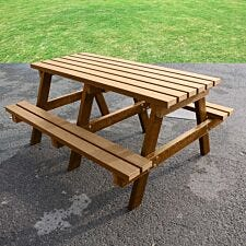 NBB Junior Small 120cm Recycled Plastic Picnic Table - Brown