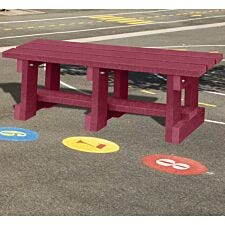 NBB Junior Recycled Plastic 90cm Backless Bench - Cranberry Red
