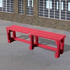 NBB Junior Recycled Plastic 150cm Backless Bench - Cranberry Red
