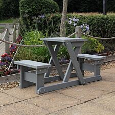 NBB Two Person Recycled Plastic Picnic Table - Grey