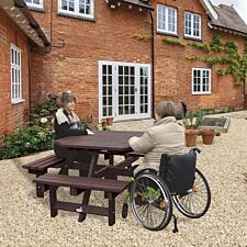 NBB Recycled Plastic Octagonal Picnic Table with one Wheelchair Space - Brown