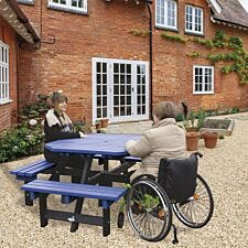 NBB Recycled Plastic Octagonal Picnic Table with one Wheelchair Space - Blue