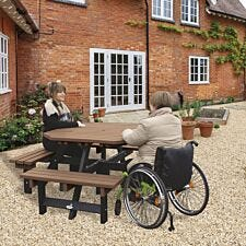 NBB Recycled Plastic Octagonal Picnic Table with one Wheelchair Space - Light Brown
