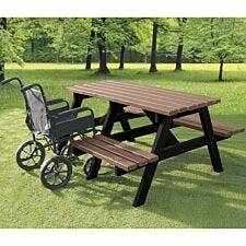 NBB A-Frame Wheelchair Access Recycled Plastic Picnic Table - Light Brown