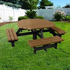 NBB Recycled Plastic Octagonal 200cm Picnic Table - Light Brown