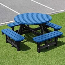 NBB Recycled Plastic Round 200cm Picnic Table - Blue