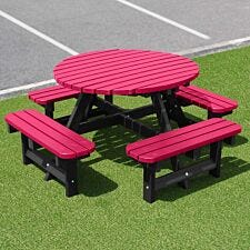 NBB Recycled Plastic Round 200cm Picnic Table - Cranberry Red