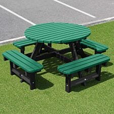 NBB Recycled Plastic Round 200cm Picnic Table - Green