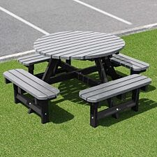 NBB Recycled Plastic Round 200cm Picnic Table - Grey