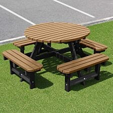 NBB Recycled Plastic Round 200cm Picnic Table - Light Brown