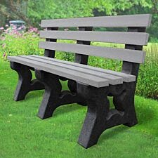 NBB Recycled Plastic 2-3 Person Park Seat With Back - Grey