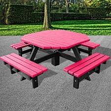 NBB Junior 200cm Octagonal Recycled Plastic Picnic Table - Cranberry Red