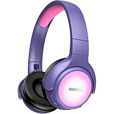 Philips Kids Headphones with Noise Isolating Ear Cushions & LED Colours - Pink/Purple