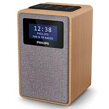 Philips FM/DAB+ Digital Clock Radio with 20 presets, Dual Alarm & Sleep Timer - Brown