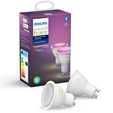 Philips Hue White & Colour Ambiance Smart Spotlight Twin Pack LED GU10 with Bluetooth