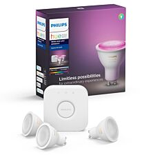Philips Hue White & Colour Ambiance Starter Kit: Smart Bulb 3x Pack LED GU10 incl. Bridge