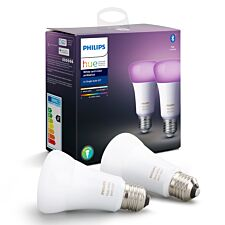 Philips Hue White & Colour Ambiance Smart Bulb Twin Pack LED E27 with Bluetooth