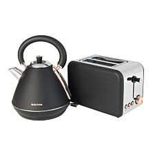 Salter 3KW 1.7L Pyramid Kettle and 850W 2-Slice Toaster - Rose Gold