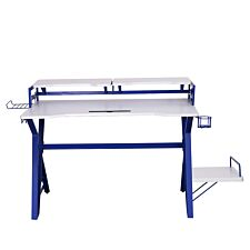 White Carbon Fibre Effect Gaming Desk with Blue Frame