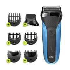Braun S3 Shave&Style Wet & Dry Electric Shaver for Men - Black & Blue
