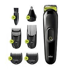 Braun BRAMGK3221 6–in–1 Men's Beard, Face, & Hair Trimmer – Black & Volt Green