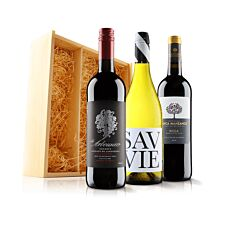 Virgin Wines Luxurious Mixed Trio in Wooden Gift Box
