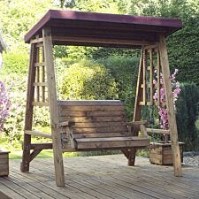 Charles Taylor Dorset 2 Seat Swing with Burgundy Roof Cover
