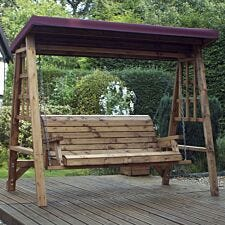 Charles Taylor Dorset 3 Seat Swing with Burgundy Roof Cover