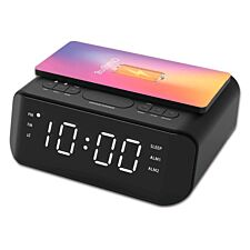 Groov-e Atlas Alarm Clock Radio with Wireless Charging Pad & USB Port