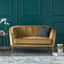Como Two Seater Accent Chair Mustard Velvet Gold Legs