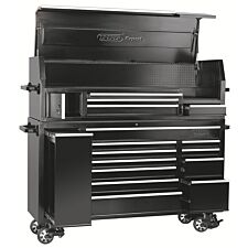 """Draper 72"""" Combined Roller Cabinet and Tool Chest (15 Drawer) - Black"""
