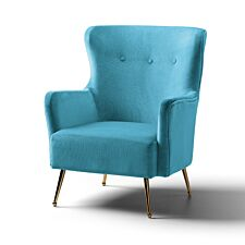 Marseille Wingback Accent Chair Velvet Lagoon Gold Legs
